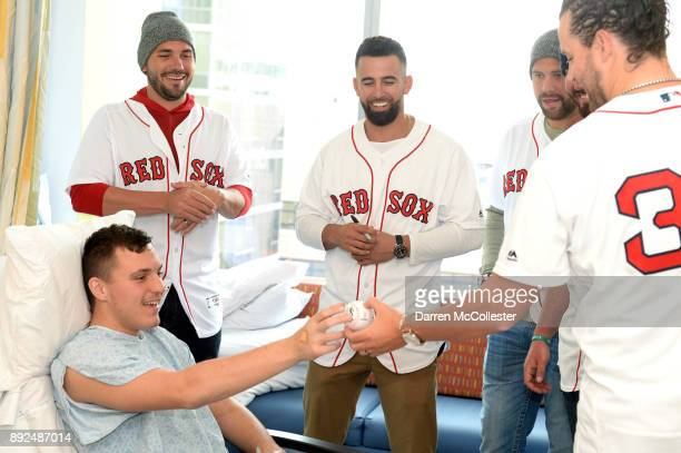 Boston Red Sox Robby Scott Devin Marrero Brian Johnson and Heath Hembree visit Tyler at Boston Children's Hospital December 14 2017 in Boston...