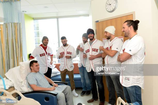 Boston Red Sox Robby Scott Devin Marrero Brian Johnson Austin Maddox Matt Barnes and Heath Hembree visit Tyler at Boston Children's Hospital December...