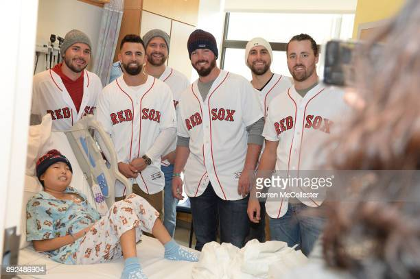 Boston Red Sox Robby Scott Devin Marrero Brian Johnson Austin Maddox Matt Barnes and Heath Hembree visit Christopher at Boston Children's Hospital...