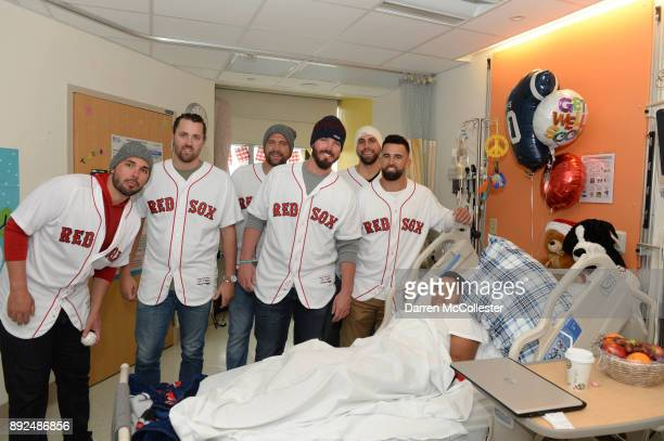 Boston Red Sox Robby Scott Heath Hembree Brian Johnson Austin Maddox Matt Barnes and Devin Marrero visit 'Bam Bam' Tyjeuan at Boston Children's...