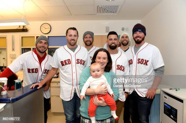 Boston Red Sox Robby Scott Heath Hembree Brian Johnson Devin Marrero Matt Barnes and Austin Maddox visit Gabriella and Mom at Boston Children's...