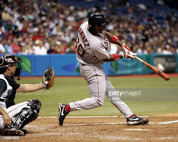 Boston Red Sox rookie Hanley Ramirez makes contact on a pitch in Tuesday night's game against the Tampa Bay Devil Rays at Tropicana Field in St...
