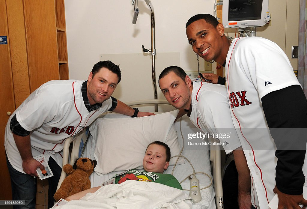 Boston Red Sox rookies Bryce Brentz, Alex Hassan, and Xander Bogaerts spread cheer to Aidan at Boston Children's Hospital on January 9, 2013 in Boston, Massachusetts.