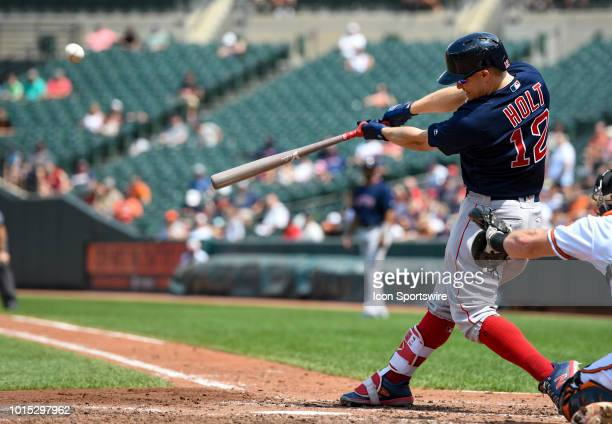Boston Red Sox second baseman Brock Holt bats during the game between the Boston Red Sox and the Baltimore Orioles on August 11 at Orioles Park at...