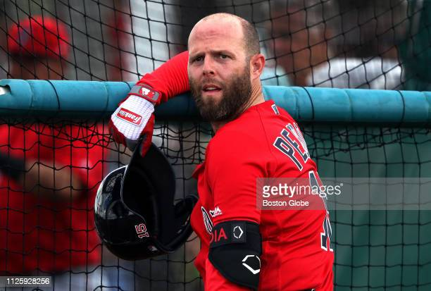Boston Red Sox second baseman Dustin Pedroia is pictured during the team's first full squad spring training workout at JetBlue Park in Fort Myers, FL...