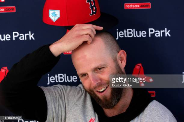 Boston Red Sox second baseman Dustin Pedroia meets with the media during spring training at JetBlue Park in Fort Myers, FL on Feb. 15, 2019.