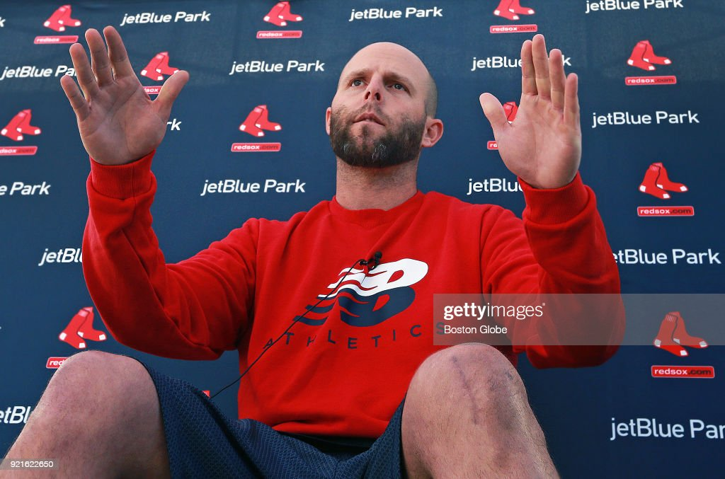 Boston Red Sox second baseman Dustin Pedroia speaks to reporters about his recovery from surgery on his left knee during spring training at the Player Development Complex at Jet Blue Park in Fort Myers, FL on Feb. 17, 2018.
