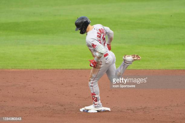 Boston Red Sox Second Baseman Enrique Hernandez rounds the bases after hitting a home run during the first inning of a Major League Baseball game...