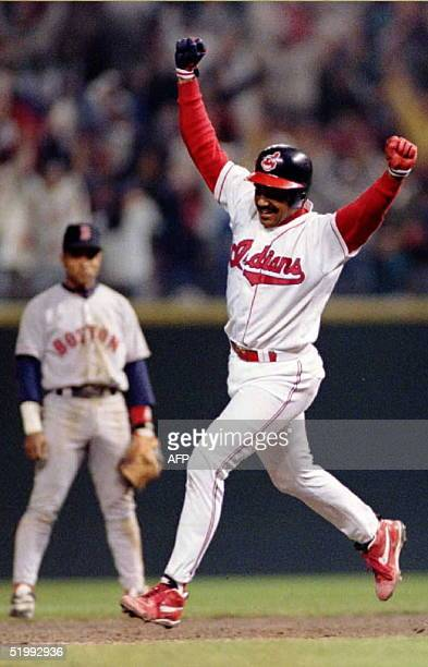 Boston Red Sox second baseman Luis Alicea looks on as Cleveland Indian Tony Pena celebrates his game-winning home run in the 13th inning 03 October...