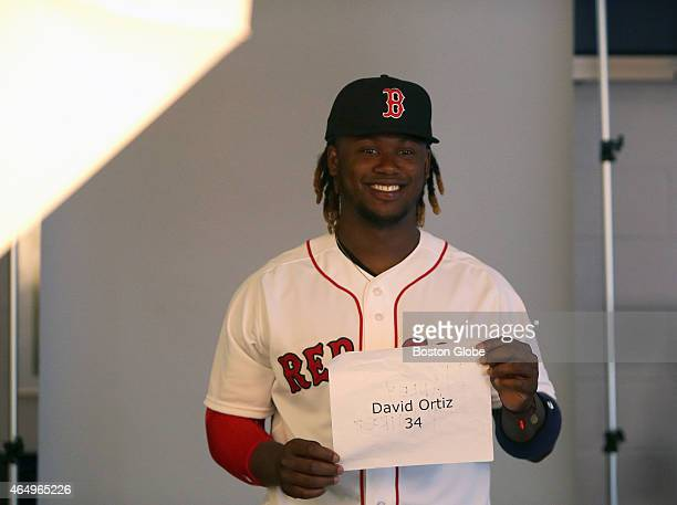 Boston Red Sox shortstop Hanley Ramirez has some fun trying to convince a photographer that he is David Ortiz