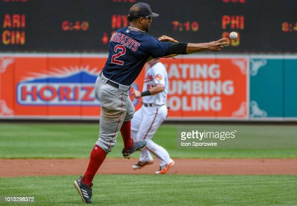 Boston Red Sox shortstop Xander Bogaerts fields a ball and throws to first base during the game between the Boston Red Sox and the Baltimore Orioles...