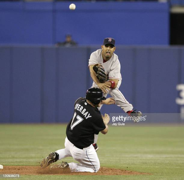 Boston Red Sox SS Alex Cora completes a double play over a sliding Lyle Overbay of the Toronto Blue Jays at Rogers Centre in Toronto Canada on April...