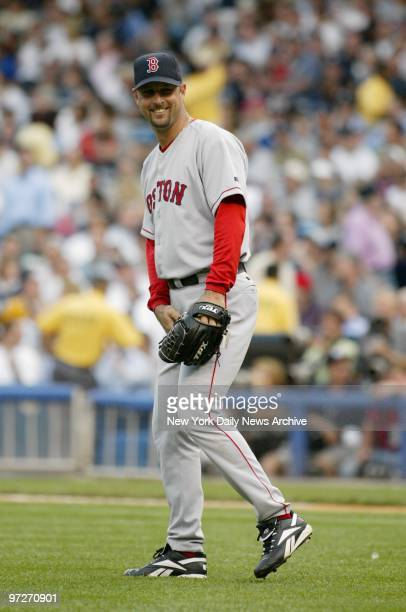 Boston Red Sox' starter Tim Wakefield has a laugh as he takes the mound to face the New York Yankees at Yankee Stadium. Wakefield pitched 6 1/3...