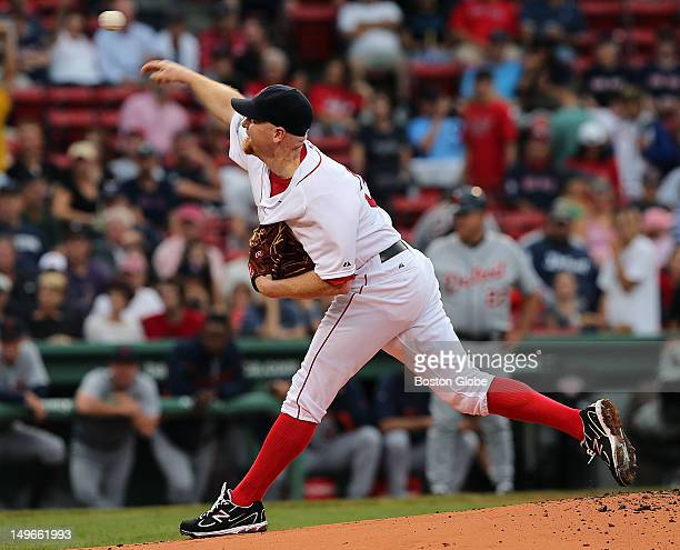 Boston Red Sox starting pitcher Aaron Cook # on the mound in the first inning as the Boston Red Sox took on the Detroit Tigers at Fenway Park