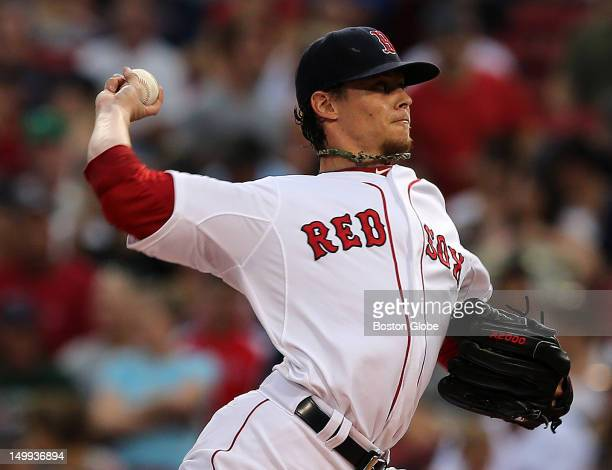 Boston Red Sox starting pitcher Clay Buchholz on the mound pitching against the Minnesota Twins The Boston Red Sox took on the Minnesota Twins at...