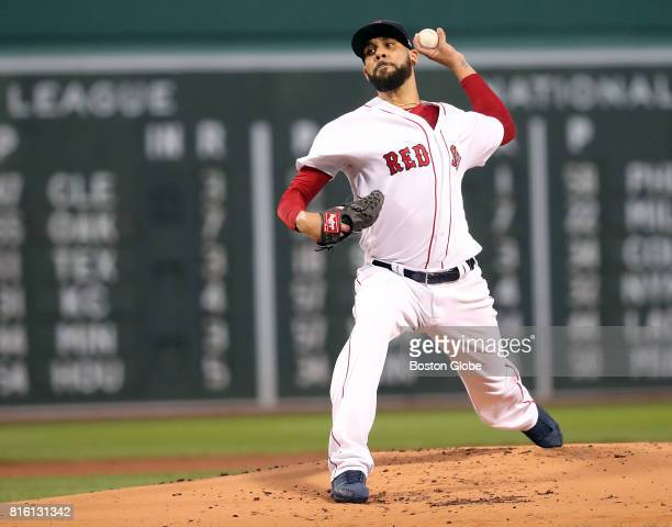 Boston Red Sox starting pitcher David Price delivers a pitch against the New York Yankees during first inning action during the second game of a...