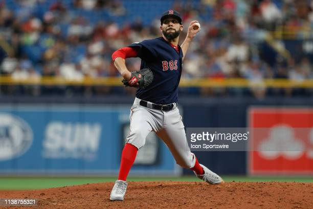 Boston Red Sox starting pitcher David Price delivers a pitch during the MLB game between the Boston Red Sox and Tampa Bay Rays on April 21, 2019 at...