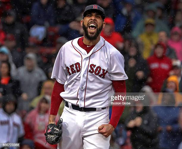Boston Red Sox starting pitcher David Price lets out a howl after shutting down the Houston Astros in the seventh inning The Boston Red Sox host the...