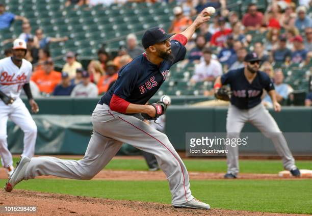 Boston Red Sox starting pitcher David Price pitches in the third inning during the game between the Boston Red Sox and the Baltimore Orioles on...