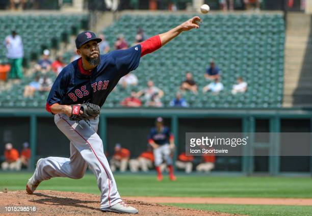 Boston Red Sox starting pitcher David Price pithes in the sixth inning during the game between the Boston Red Sox and the Baltimore Orioles on August...