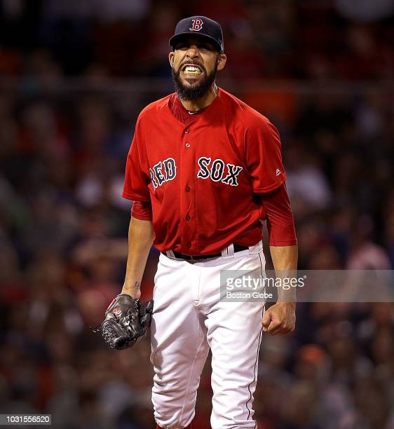 Boston Red Sox starting pitcher David Price reacts after getting the third out in the top of the fourth inning The Boston Red Sox host the Houston...
