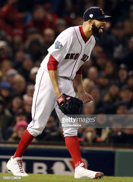Boston Red Sox starting pitcher David Price reacts at the end of the top of the sixth inning The Boston Red Sox host the Los Angeles Dodgers in Game...
