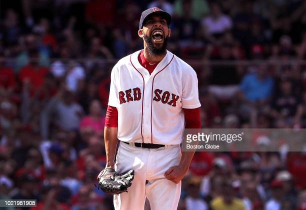 Boston Red Sox starting pitcher David Price reacts during the eighth inning The Boston Red Sox host the Cleveland Indians in a regular season MLB...