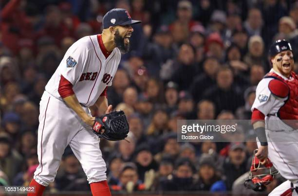 Boston Red Sox starting pitcher David Price reacts with delight as the Dodgers' Chris Taylor is thrown out at first base by Red Sox player Rafael...