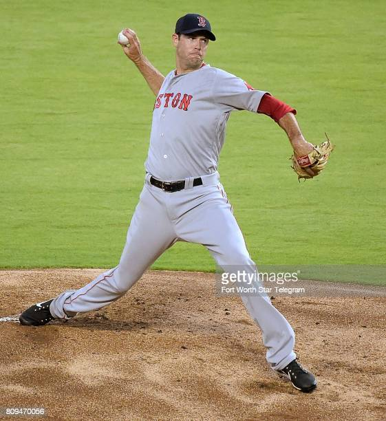 Boston Red Sox starting pitcher Doug Fister works during the first inning against the Texas Rangers at Globe Life Park in Arlington Texas on...