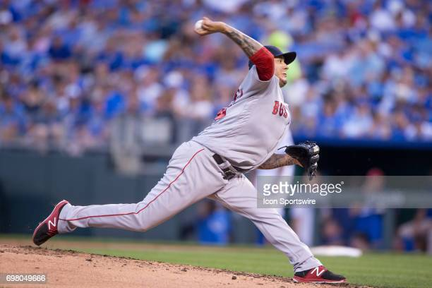 Boston Red Sox starting pitcher Hector Velazquez during the MLB game between the Boston Red Sox and the Kansas City Royals on June 19 2017 at...