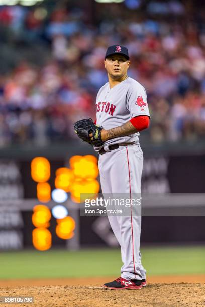Boston Red Sox starting pitcher Hector Velazquez plans his pitch during the Major League Baseball game between the Boston Red Sox and the...