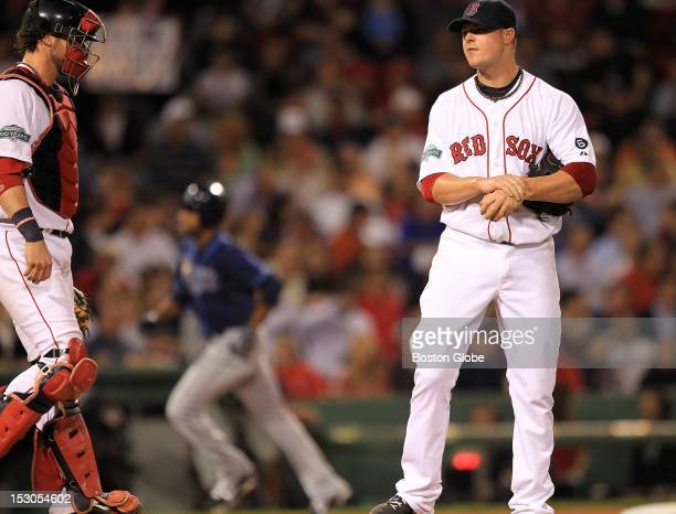 Boston Red Sox starting pitcher Jon Lester had a rough outing in the fifth inning giving up three runs as the Boston Red Sox took on the Tampa Bay...