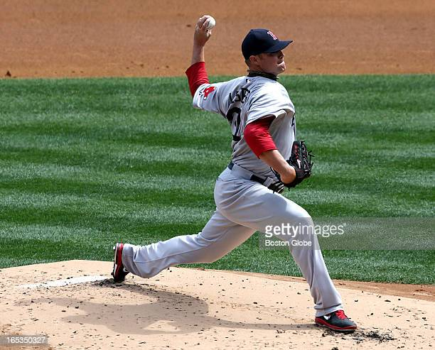 Boston Red Sox starting pitcher Jon Lester pitches against the New York Yankees The Boston Red Sox play the New York Yankees at Yankee Stadium during...