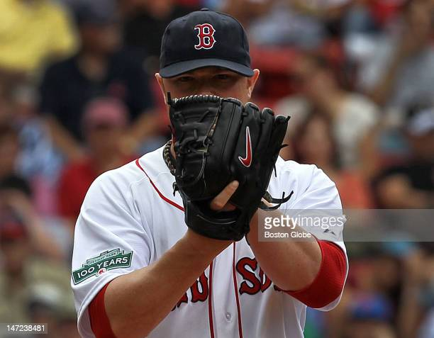 Boston Red Sox starting pitcher Jon Lester pitching against the Toronto Blue Jays as the Boston Red Sox took on the Toronto Blue Jays at Fenway Park