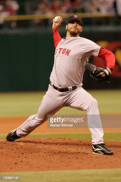Boston Red Sox starting pitcher, Josh Beckett on the mound during game action at Tropicana Field, St Petersburg, Fl USA, July 3, 2006. The Tampa Bay...