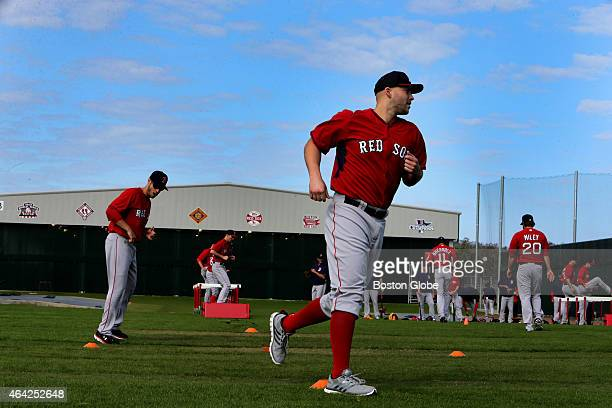 Boston Red Sox starting pitcher Justin Masterson and pitchers started the day with conditioning drills