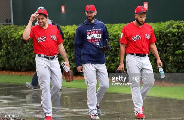 Boston Red Sox starting pitcher Nathan Eovaldi Boston Red Sox starting pitcher Rick Porcello and Boston Red Sox starting pitcher Eduardo Rodriguez...
