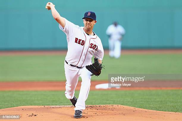 Boston Red Sox starting pitcher Steven Wright pitches against the Minnesota Twins during the first inning at Fenway Park on July 21 2016 in Boston...