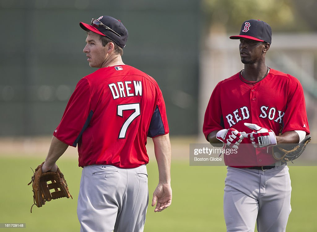 Boston Red Sox Stephen Drew, left, and Pedro Ciriaco. Day two of spring training at the Red Sox training facilities at JetBlue Park on Wednesday, Feb. 13, 2013.