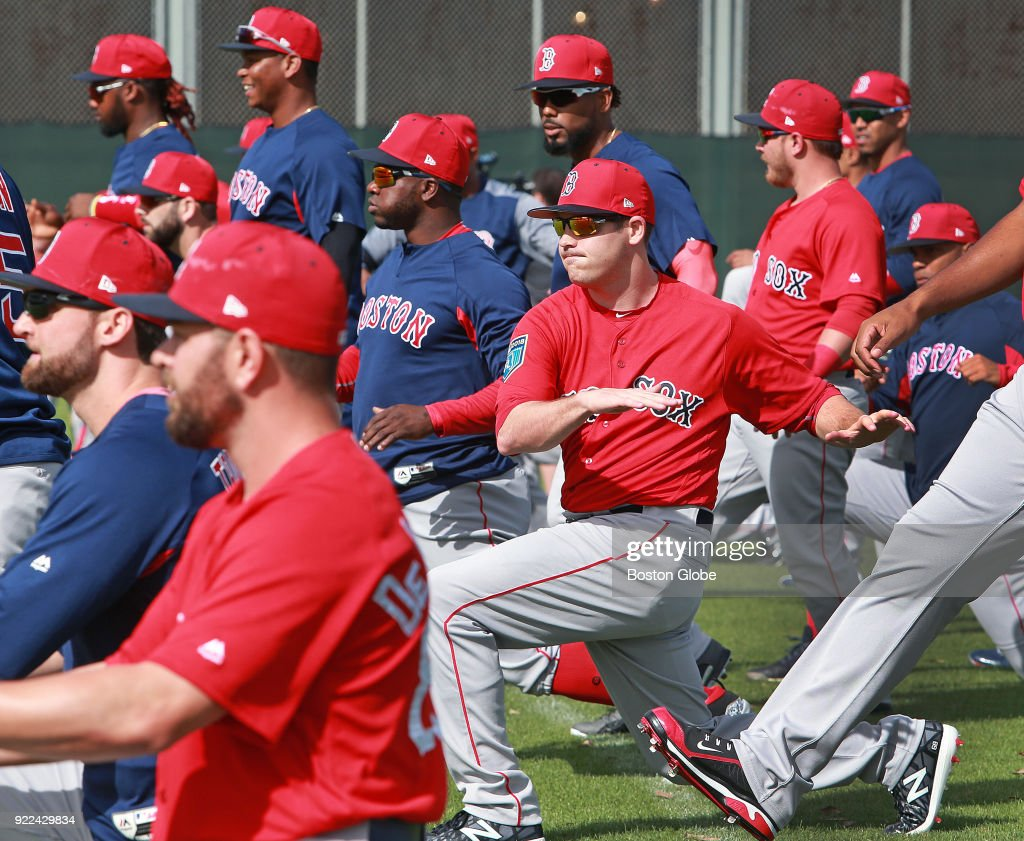 Boston Red Sox team members participate in the final day of workouts during spring training at the Player Development Complex at Jet Blue Park in Fort Myers, FL on Feb. 21, 2018. The team begins exhibition games with a doubleheader against college teams the following day.