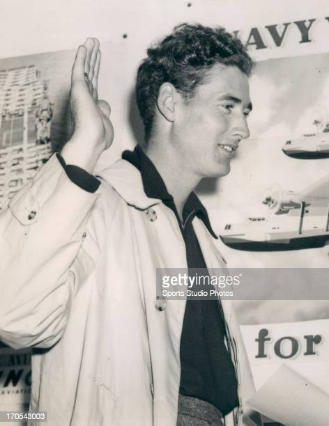 Boston Red Sox Ted Williams enlisting in the US Navy on July 1 1942