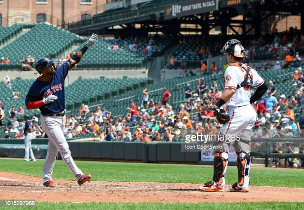 Boston Red Sox third baseman Eduardo Nunez celebrates after hitting a two run home run in the fifth inning during the game between the Boston Red Sox...