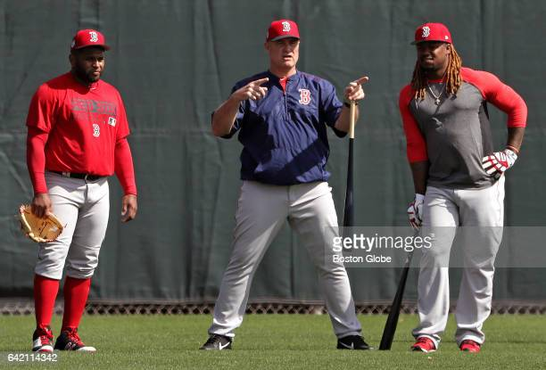 Boston Red Sox third baseman Pablo Sandoval Boston Red Sox manager John Farrell and Boston Red Sox first baseman Hanley Ramirez are pictured during...