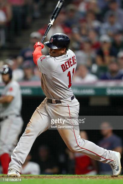 Boston Red Sox third baseman Rafael Devers hits his fourth double of the game during the tenth inning of the Major League Baseball game between the...