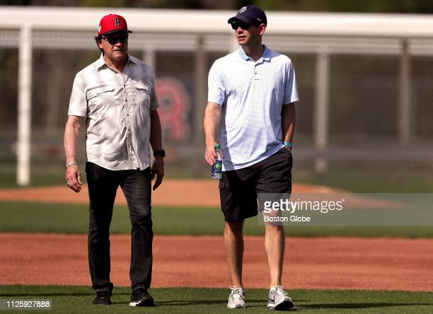 Boston Red Sox Vice President and Special Assistant to the President of Baseball Operations Tony La Russa left walks with Boston Celtics head coach...