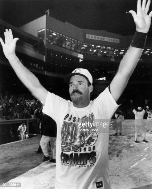 Boston Red Sox Wade Boggs celebrates his team's win against the Chicago White Sox at Fenway Park in Boston Oct 3 1990
