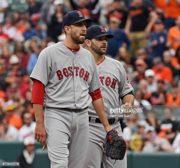 Boston Red Sox's Matt Barnes left reacts as he is ejected from the game for throwing a pitch behind Baltimore Orioles' Manny Machado in the eighth...