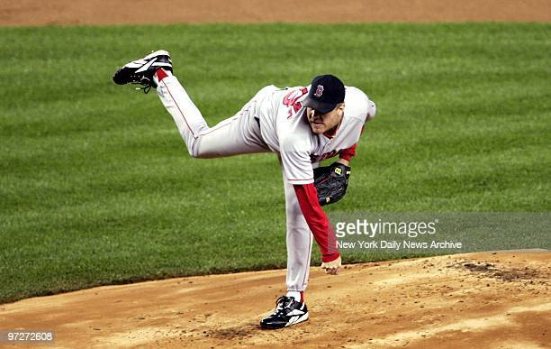 Boston Red Sox's starter Curt Schilling pitches during Game 6 of the American League Championship Series against the New York Yankees at Yankee...