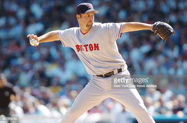 Boston Red Sox's starter Tim Wakefield pitches a knuckleball during a game against the New York Yankees at Yankee Stadium Wakefield gave up just...