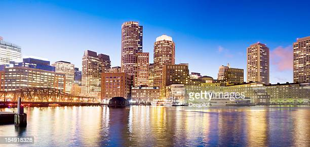 Boston Rowes Wharf City Skyline at Night in the USA